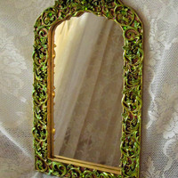 Ornate Jeweled Accent Mirror, Bright Gold Lime Green Aqua, Swarovski Rhinestones - Gold Accent Mirror - Decorative Mirror - Victorian Mirror