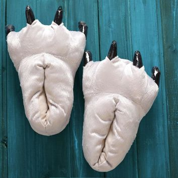 Unisex Soft Plush Home Paw Slippers Animal Costume Claw Shoes Feet Costume for Adult a