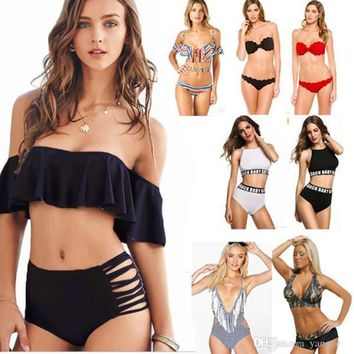 c561b257b2 Sexy Women s Bikini Set Padded Push Up Swimwear Bandeau Off Shou