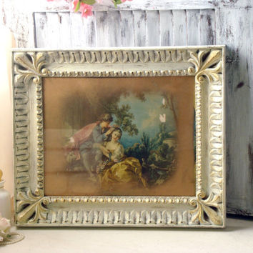 Cream Vintage Ornate Frame, Beautiful Vintage Art Print, Shabby Chic Large Cream and Gold Frame, Plastic Frame with Glass, 1960's Frame