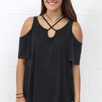 Stone Washed, Strappy Short Sleeve Cold Shoulder {Black}