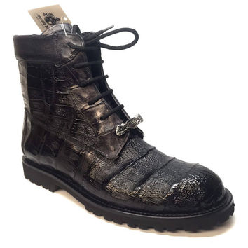 Mauri All-Over Baby Crocodile 'King' Lace Up Combat Boots