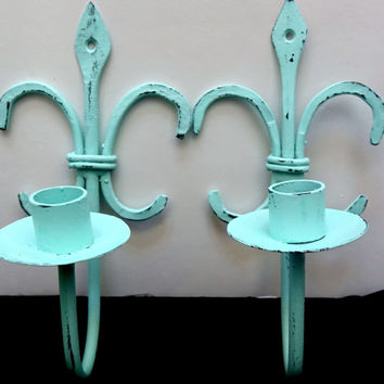 Pair of Wall Sconce Candle Holders | Chippy Paint | Blue Shabby Chic Decor | Metal Candle Holder