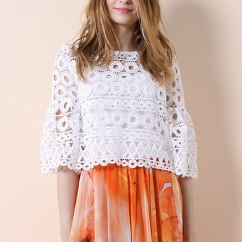 Circle of Love Crochet Top in White