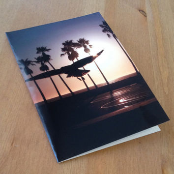 Bird Flying into the Sunset over Venice Beach - Blank 5x7 Note Card with Blank Envelope