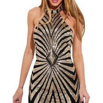 Hit The Mark Beige Gold Geometric Sequin Sleeveless Halter Bodycon Mini Dress