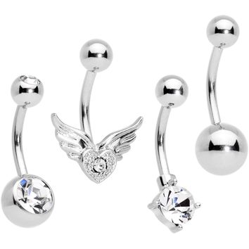 Clear Gem Valentines Day Winged Heart Belly Ring Set of 4