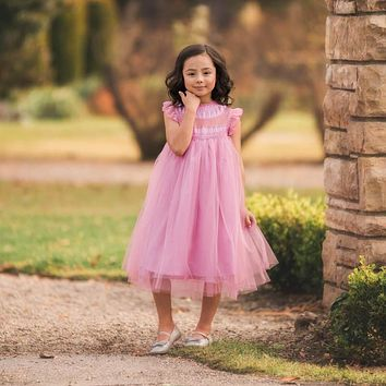 Magnolia Pink Lavender Ruffle & Tulle Smock Dress