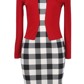Atomic Red Plaid Office Bodycon Dress
