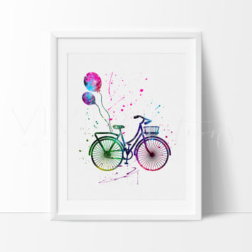 Balloon Bicycle Watercolor Art Print