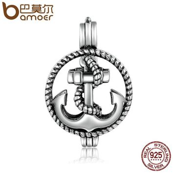 925 Sterling Silver Rope & Anchor Cage Pendant Fit Chain Necklaces for Women Authentic Silver Jewelry SCP008