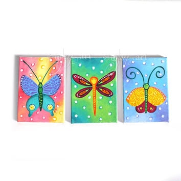 Butterfly Dragonfly Moth, set 3 5x7 acrylic canvas paintings, bug themed wall, home decor, art for kids