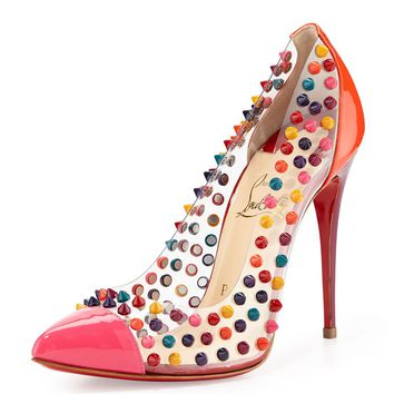 $1295 Christian Louboutin Pigalle Spike Me PVC Cap-Toe Red Sole Pump, Pink sz 38
