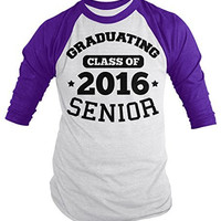 Shirts By Sarah Men's Graduating Class 2016 Senior Graduate Shirt 3/4 Sleeve Raglan
