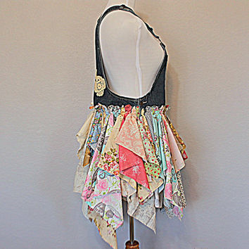 Shabby Tattered Raw Overall Dress | Mori Girl Gypsy Cowgirl Beachy Clothes | Jean Bib Tunic | Size Large Women's Upcycled Clothing