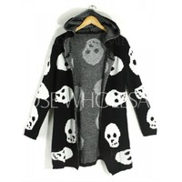 Wholesale Skull Pattern Stylish Hooded Long Sleeve Women's Cardigan (BLACK,ONE SIZE(FIT OUR SIZE)), Sweater & Cardigan - Rosewholesale.com