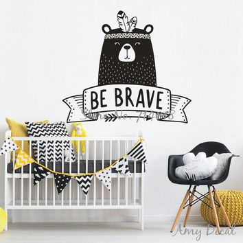 Be Brave Wall Decal Cute Tribal Bear Wall Sticker For Kids Room Baby Bedroom Decor Nursery Bear Decal Vinyl Tattoo Stickers A739