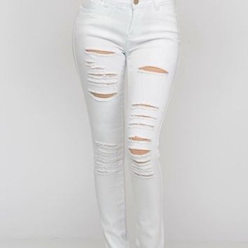 Destructed White Jeggings