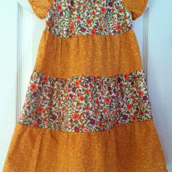 Girls Fall Dress, Peasant Style Dress, Girls Thanksgiving Dress