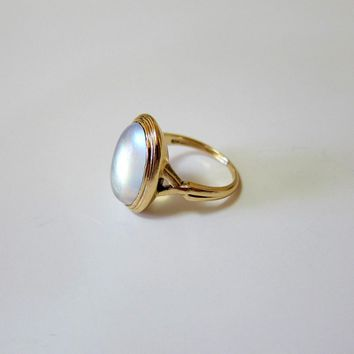 Antique 10K Rosy Gold Oval Cabochon Moonstone Ring - Signed