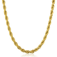 Stainless Steel Goldtone Plated 5mm 24 Inch Rope Chain