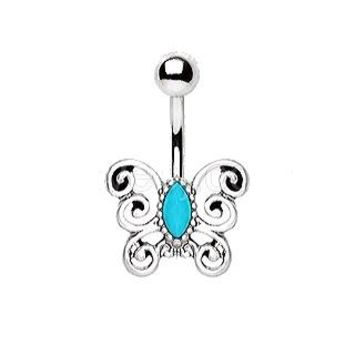 316L Stainless Steel Turquoise Antique Butterfly Navel Ring