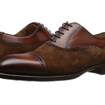 Magnanni Men's Cognac Leather and Suede Shoes