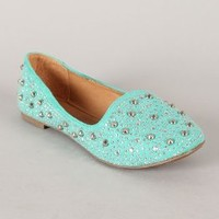 New Ladies Mint Sky Blue Suede Loafer Flats with all over Jewel embellishment and studs Shoes