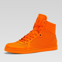 Coda Neon Leather High-Top Sneaker, Orange