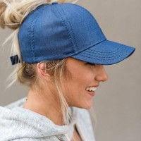 Messy Bun Baseball Cap - Denim Chambray