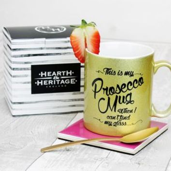 Prosecco Mug With Gold Sparkle Detail