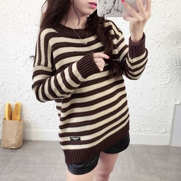 Kawaii Yellow Striped Winter Sweater Women Autumn Pullover Coats Jumper Korean Soft Lady's Knitted Loose Ugly Christmas Sweater