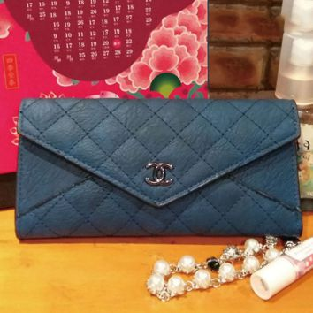 Chanel Women Zipper Leather Purse Wallet Satchel bag Blue