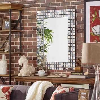 Tilden Mosaic Tile Frame Rectangular Accent Wall Mirror | Overstock.com Shopping - The Best Deals on Mirrors