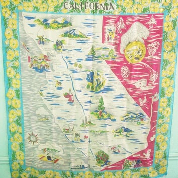 Vintage 50s 60s California Tourist Map Attraction Head Wrap Scarf / Hollywood LA Palm Springs San Francisco