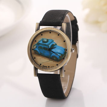 Vintage Car Design Leather Watch with Gift Box