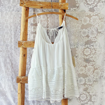 Layered Lace Tank in White