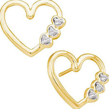 Diamond Heart Earrings in 10k Gold 0.07 ctw