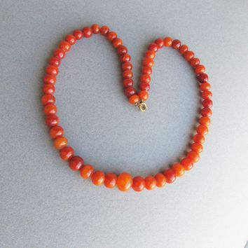Vintage 1920's Galalith Casein Early Plastic Faux AMBER Bead Necklace