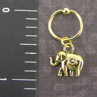 Small Gold Lucky Elephant on 14K gold plated Captive Bead Ring 14g 16g Gauge Conch Hoop Helix Tragus Earring Exotic Body Piercing Jewelry