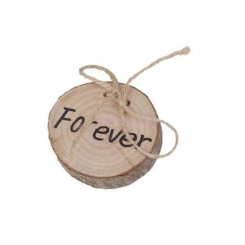 Forever Rustic Shabby Chic Wedding Wooden Ring Bearer Pillow Jute Rope Round
