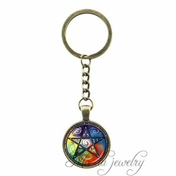 2017 New Pentagram Key Chains Glass Dome Pendant Charms Occult Keychain Vintage Bronze Plated Key Ring Pentacle Wiccan Jewelry
