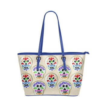 Hip Water Resistant Small Leather Tote Bags Sugar Skull #14 (5 colors)