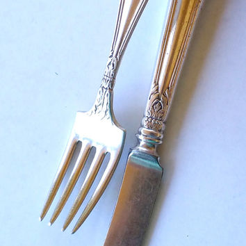 Antique Baby Silverware Sterling Baby Knife Fork Vintage Silverware for Child Silver Childrens Utensils Sterling Childs Silverware Baby Gift
