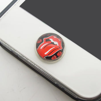1PC Retro Glass Epoxy Transparent Times Gems Red Mouth Alloy Cell Phone Home Button Sticker Charm for iPhone 6, 4s,4g,5,5c Kids Gift