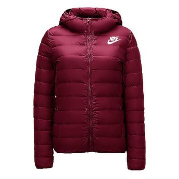 Nike Classic Popular Women Leisure Print Hooded Eider Down Cardigan Jacket Coat Windbreaker Burgundy