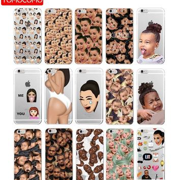 Kimoji Kim Kardashian kanye west north kylie jenner Soft Phone Case Cover Coque For iPhone 7Plus 7 6 6S  5S SE iPhone X XS Max