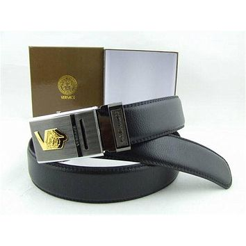 Versace Collection Black Leather Silver Buckle Versace Belt With Box