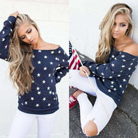 One Shoulder Star Long Sleeve Autumn Cute Tops [9052176644]