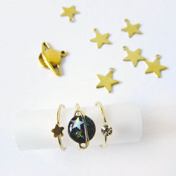 Midi Rings, Set of Rings,Space Jewellery,Planet Ring,Star Ring,Gold Star,Midi Set,Galaxy Ring,Crystal Ring,Gold Ring Set,Quirky Jewelry